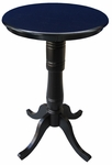 Solid Wood 3 In 1 Convertible Dining Pedestal 30'' Diameter Table - Black [K46-30RT-6B-2-FS-WHT]
