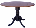Solid Wood 42'' Diameter Round Dual Drop Leaf Pedestal Dining Table - Cherry [T57-42DP-FS-WHT]