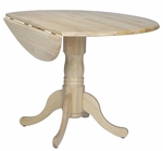 Solid Wood 42'' Diameter Round Pedestal Table with 9'' Dual Drop Leaves- Natural [T01-42DP-FS-WHT]