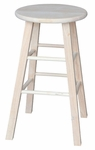 Solid Parawood Round 30''H Backless Bar Stool - Unfinished [1S-530-FS-WHT]