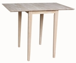 Solid Parawood 22''W X 30''H Small Drop Leaf Table - Unfinished [T-2236D-FS-WHT]