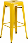 30'' High Backless Yellow Metal Indoor-Outdoor Barstool with Square Seat [CH-31320-30-YL-GG]