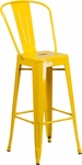 30'' High Yellow Metal Indoor-Outdoor Barstool with Back [CH-31320-30GB-YL-GG]