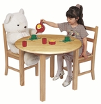 30''W x 30''D Round Hardwood Table with .75''H Bull-Nose Edge and Two 3-Rung Chairs Set [ELR-22101-ECR]