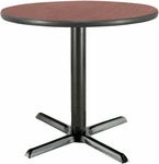 30'' Round Laminate Pedestal Table with Dark Mahogany Top - Black X-Base [T30RD-B2015-MH-IFK]