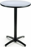30'' Round Laminate Bistro Height Pedestal Table with Grey Nebula Top - Black Arch Base [T30RD-B2115-38-GN-IFK]