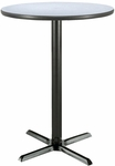 30'' Round Laminate Pedestal Table with Grey Nebula Bar Height Table Black X-Base [T30RD-B2015-38-GN-IFK]