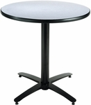 30'' Round Laminate Pedestal Table with Grey Nebula Top - Black Arch Base [T30RD-B2115-GN-IFK]