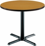 30'' Round Laminate Pedestal Table with Medium Oak Top - Black X-Base [T30RD-B2015-MO-IFK]