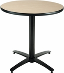 30'' Round Laminate Pedestal Table with Natural Top - Black Arch Base [T30RD-B2115-NA-IFK]