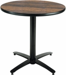 30'' Round Laminate Pedestal Table with Walnut Top - Black Arch Base [T30RD-B2115-WL-IFK]