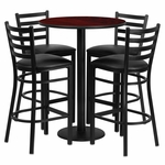 30'' Round Mahogany Laminate Table Set with Ladder Back Metal Barstool and Black Vinyl Seat, Seats 4 [REST-016-BK-MAH-FS-TDR]