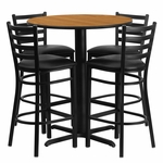 30'' Round Natural Laminate Table Set with Ladder Back Metal Barstool and Black Vinyl Seat, Seats 4 [REST-006-BK-NAT-FS-TDR]