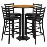 30'' Round Natural Laminate Table Set with Ladder Back Metal Barstool and Black Vinyl Seat, Seats 4 [REST-016-BK-NAT-FS-TDR]