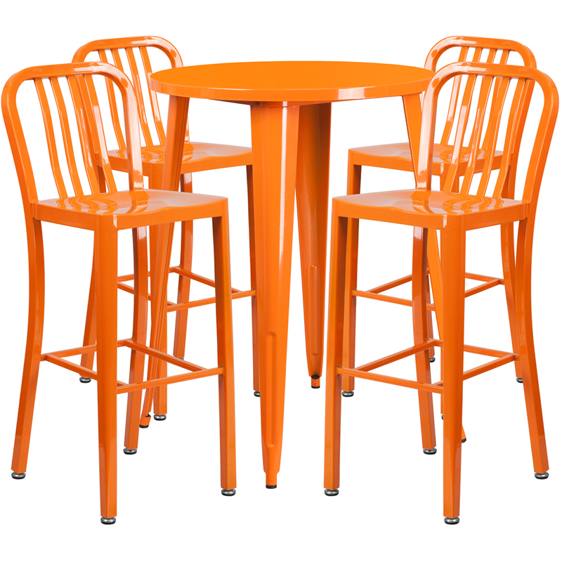 30 39 39 round orange metal indoor outdoor bar table set with for Html vertical table