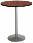 30'' Round Laminate Bistro Height Pedestal Table with Mahogany Top - Silver Round Base [T30RD-B1917-SL-MH-38-IFK]