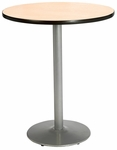 30'' Round Laminate Bistro Height Pedestal Table with Natural Top - Silver Round Base [T30RD-B1917-SL-NA-38-IFK]