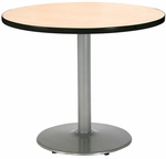 30'' Round Laminate Pedestal Table with Natural Top - Silver Round Base [T30RD-B1917-SL-NA-IFK]
