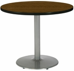 30'' Round Laminate Pedestal Table with Walnut Top - Silver Round Base [T30RD-B1917-SL-WL-IFK]