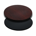 30'' Round Table Top with Reversible Black or Mahogany Laminate Top