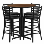 30'' Round Walnut Laminate Table Set with Ladder Back Metal Barstool and Black Vinyl Seat, Seats 4 [REST-006-BK-WAL-FS-TDR]