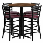 30'' Round Walnut Laminate Table Set with Ladder Back Metal Barstool and Burgundy Vinyl Seat,Seats 4 [REST-007-BG-WAL-FS-TDR]