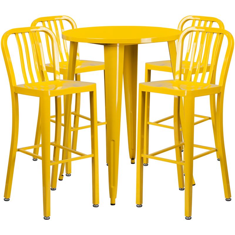 30 39 39 round yellow metal indoor outdoor bar table set with for Html vertical table