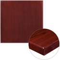 30'' Square High-Gloss Mahogany Resin Table Top with 2'' Thick Edge