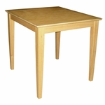 Butcher Block Top Solid Wood 30''W X 30''H Table with Shaker Legs - Natural [T01-3030-FS-WHT]