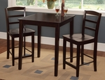 Solid Wood 3 Piece Gathering Height Table with 2 Madrid Back Armless Stools - Mocha [K15-3030-S402-2-FS-WHT]