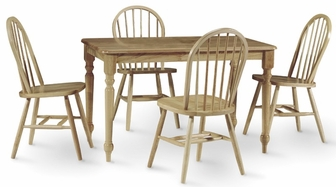 Solid Wood 5 Piece Dining Table with Turned Legs and 4 Windsor ...
