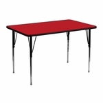 30''W x 48''L Rectangular Red HP Laminate Activity Table - Standard Height Adjustable Legs [XU-A3048-REC-RED-H-A-GG]
