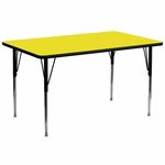 30''W x 72''L Rectangular Yellow HP Laminate Activity Table - Standard Height Adjustable Legs [XU-A3072-REC-YEL-H-A-GG]