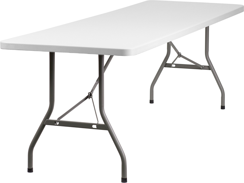 30 39 39 w x 96 39 39 l granite white plastic folding table rb 3096 for Cuisine table retractable