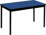 High Pressure Laminate Rectangular Lab Table with Black Base and T-Mold - Blue Top - 30''D x 48''W [LT3048-37-CRL]