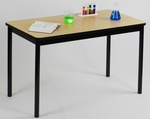 High Pressure Laminate Rectangular Lab Table with Black Base and T-Mold - Fusion Maple Top - 30''D x 48''W [LT3048-16-CRL]