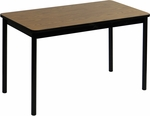 High Pressure Laminate Rectangular Lab Table with Black Base and T-Mold - Medium Oak Top - 30''D x 48''W [LT3048-06-CRL]