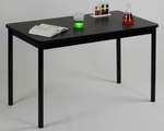 High Pressure Laminate Rectangular Lab Table with Black Base and T-Mold - Black Granite Top - 30''D x 72''W [LT3072-07-CRL]