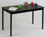 High Pressure Laminate Rectangular Lab Table with Black Base and T-Mold - Walnut Top - 30''D x 72''W [LT3072-01-CRL]