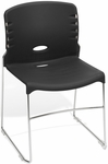 300 lb. Capacity Plastic Seat and Back Stack Chair -Black [320-P0-MFO]