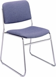 300 Series Stacking Chrome Steel Frame Armless Guest Chair with Sled Base and 2'' Upholstered Seat [320-CH-IFK]
