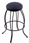 Georgian 30'' Black Wrinkle Finish Swivel Barstool with Gr 1 Allante Dark Blue Vinyl Seat [300030BWALDKBL-FS-HOB]