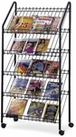 32.5'' W x 15.25'' D x 63.5'' H Mobile Wire Literature Rack with Four Viewing Levels - Charcoal [4129CH-FS-SAF]