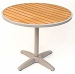 32''D Synthetic Teak Outdoor Table Top with Silver Base [TA-PT-32RD-AL-1805-FLS]