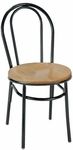 3200 Series Armless Hospitality Chair with Rounded Steel Frame Back and Round Wood Seat [3210-WOOD-IFK]