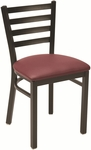 3300 Series Square Steel Frame Armless Cafe Chair with Contoured Ladder Back and Upholstered Seat [3316-IFK]