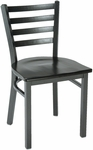 3300 Series Square Steel Frame Armless Cafe Chair with Contoured Ladder Back and Wood Seat [3316-WOOD-IFK]