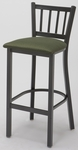 3300 Series Square Steel Frame Armless Cafe Barstool with Slatted Back and Upholstered Seat [BR3309-IFK]