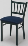 3300 Series Square Steel Frame Armless Cafe Chair with Contoured Slatted Back and Upholstered Seat [3309-IFK]