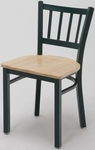 3300 Series Square Steel Frame Armless Cafe Chair with Contoured Slatted Back and Wood Seat [3309-WOOD-IFK]